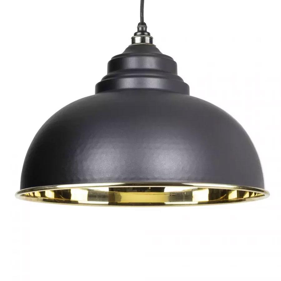 Home Accessories Harborne Pendant - Black Exterior with Smooth Brass Interior