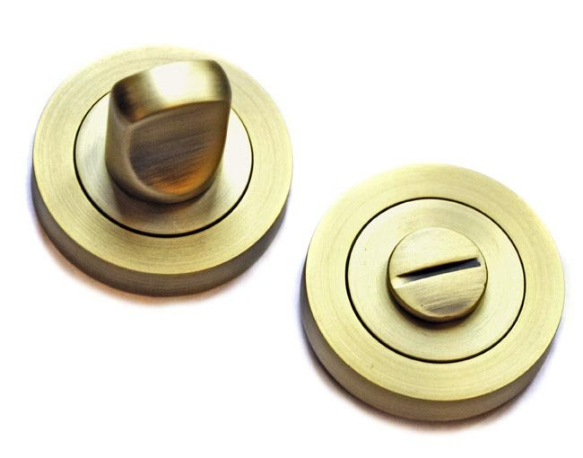 Bathroom Door Turn Knob   Matt Antique Brass Finish