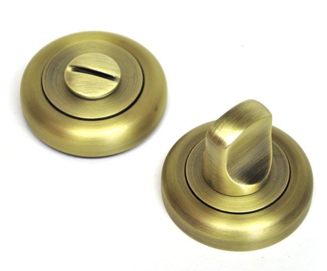 Bathroom Door Turn Knob with a Radius Edge Rose - Matt Antique Brass