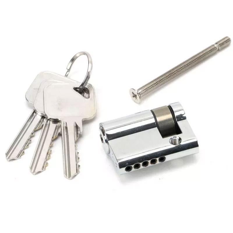Single Euro Cylinder Lock - Polished Chrome