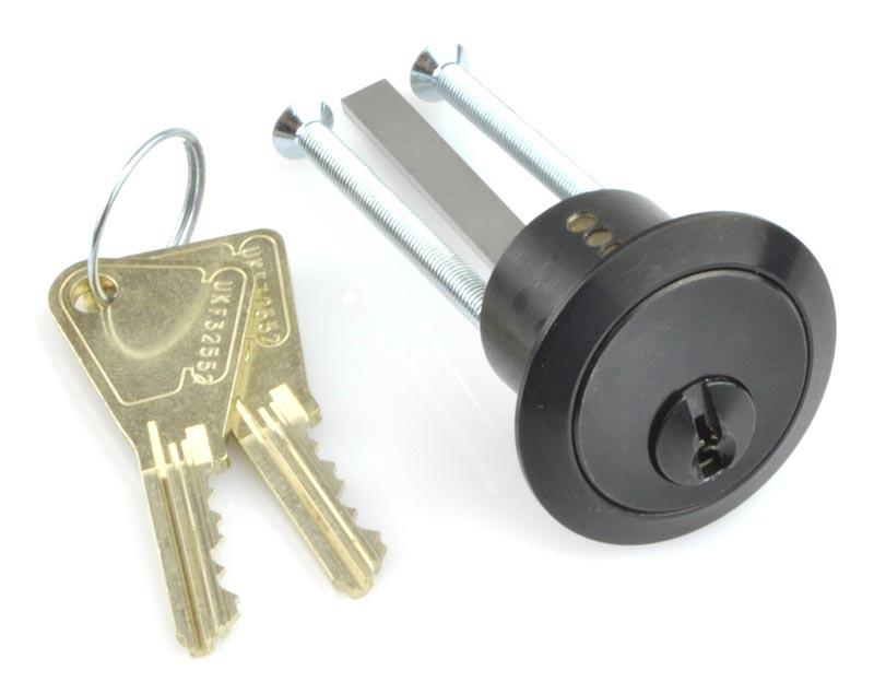 Kirkpatrick 5142 Heavy Duty Front Door Rim Cylinder Lock  Black