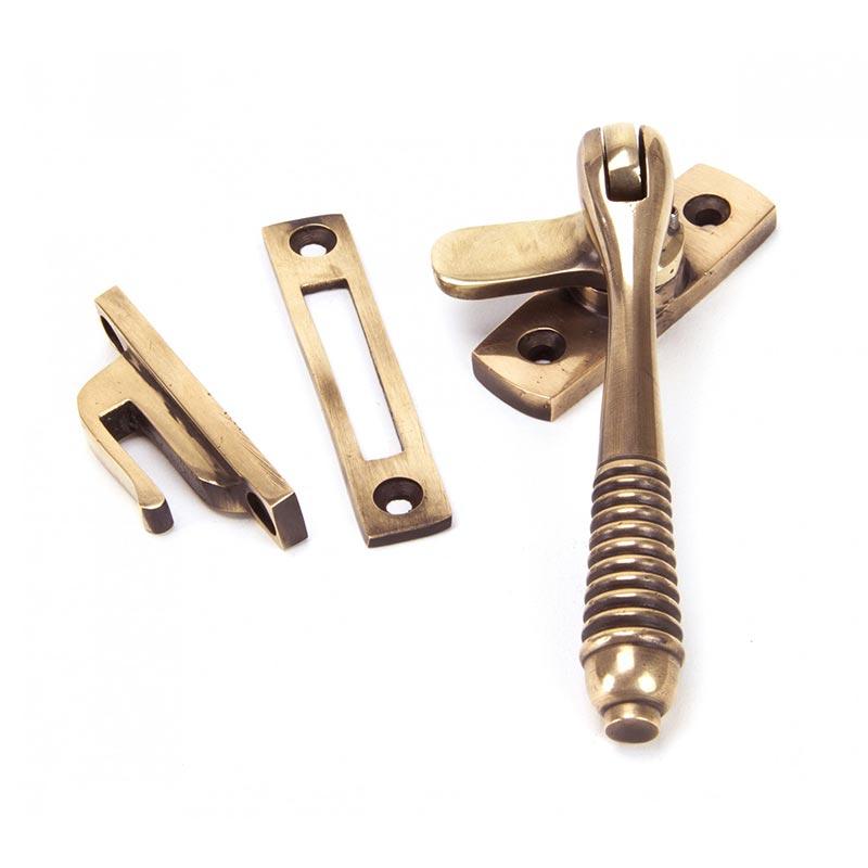 Locking Reeded Casement Fastener - Polished Bronze