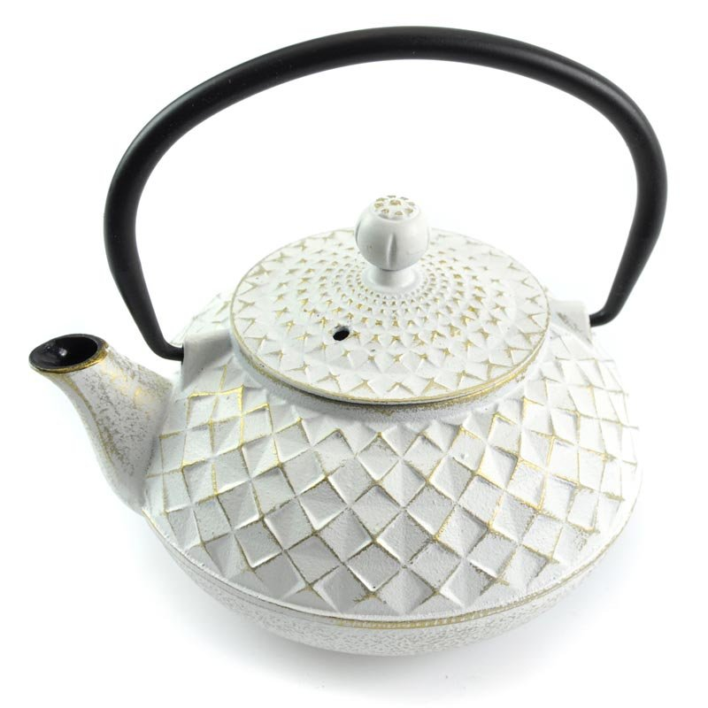 Japanese Cast Iron Tea Pot For One - Ivory and Gold