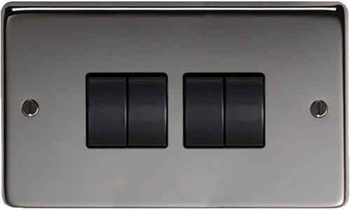 Black Nickel Quad Light Switch