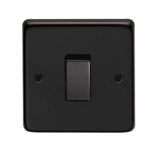Matt Black Single Light Switch Electrical Switches Black Chrome Nickel Stainless Steel