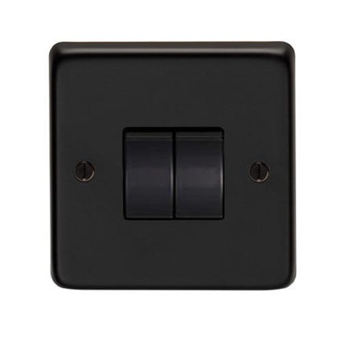 Matt Black Double Light Switch