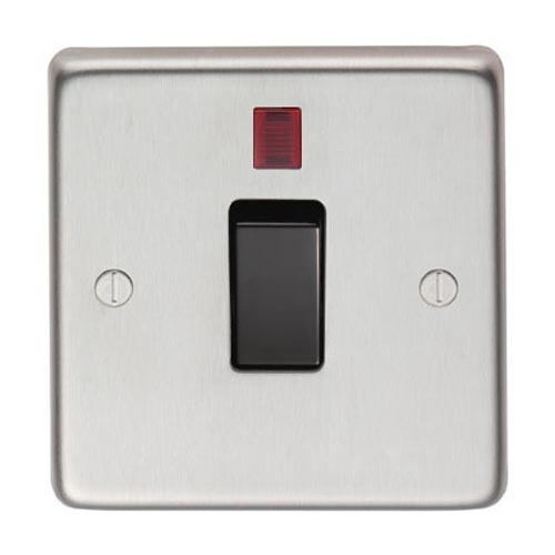 Satin Stainless Steel Single Switch and Neon - 20 Amp