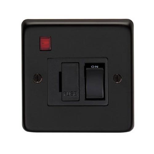 Matt Black Fused Switch and Neon - 13 Amp
