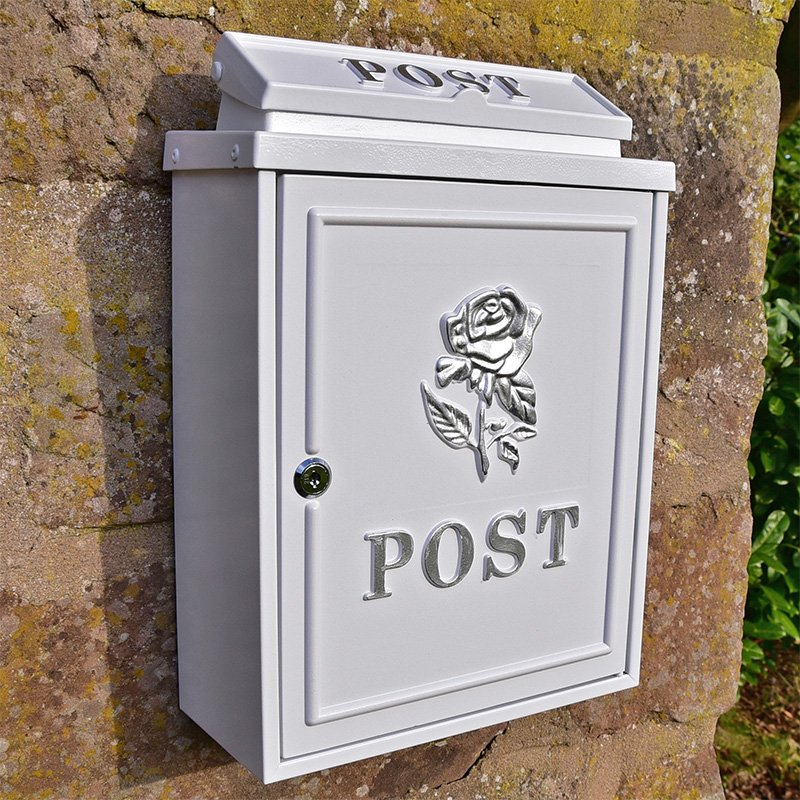 Silver Rose Wall Mounted Post Box White Finish Through
