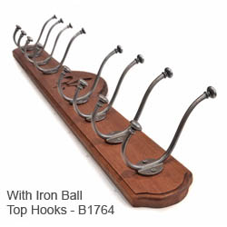 Deluxe 8 Coat Hook Board - Walnut Finish | Brass Hat & Coat Hooks