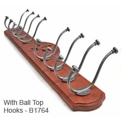 Deluxe 8 Coat Hook Board - Mahogany Finish