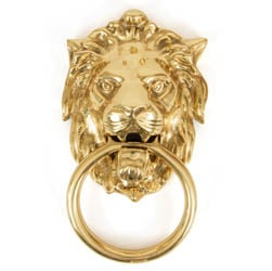 Regency Lions Head Door Knocker - Polished Brass