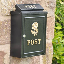 Rose Wall Mounted Post Box - Gold Finish