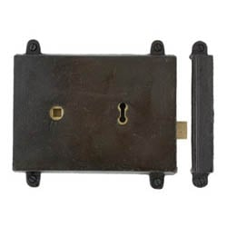 Blacksmith Beeswax Rim Lock and Cast Iron Cover | Blacksmith Rim Locks & Keeps