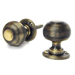 Antique Brass Reeded Door Knobs