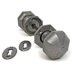Octagon Door Knob Set - Pewter Patina Finish