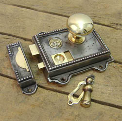 Regency Cast Iron and Brass Rim Latch Set