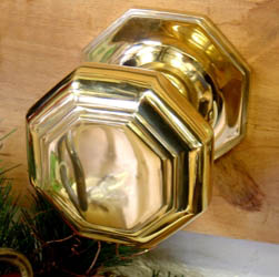 Octagon Brass Centre Door Knob