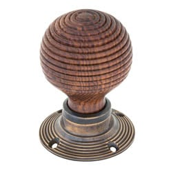 Beehive Rosewood Knob Set with Brass Roses
