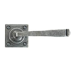 Blacksmith Pewter Patina Avon Lever Door Handle on Rose Set - Sprung