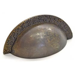 Antique Brass Nautilus Edged Drawer Pull