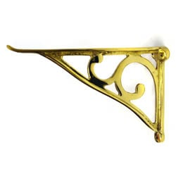 Brass Simple Scroll Glass Shelf Brackets