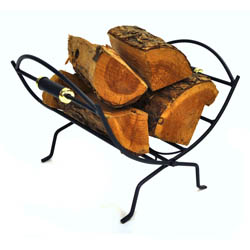 Black and Brass Folding Log Basket