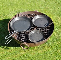 Set of 3 Skillets plus Handle - Kadai