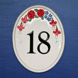 Oval House Number Sign with Flowers