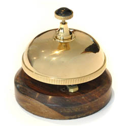Brass Desk Bell with Wooden Base