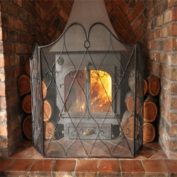 Heart Scroll Fire Screen