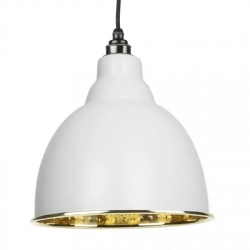 Brindley Pendant - Light Grey Exterior with Hammered Brass Interior