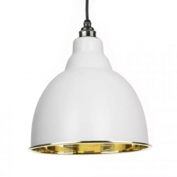Brindley Pendant - Light Grey Exterior with Smooth Brass Interior