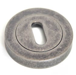 Round Escutcheon - Distressed Silver Finish