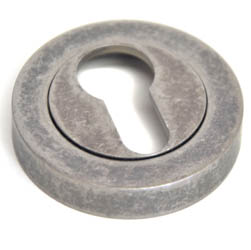 Euro Escutcheon - Distressed Silver Finish