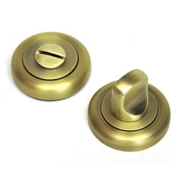 Bathroom Door Turn Knob with a Radius Edge Rose  - Matt Antique Brass Finish