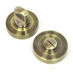 Bathroom Door Turn Knob - Antique Brass Finish