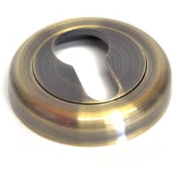 Euro Escutcheon with a Radius Edge Rose - Antique Brass Finish