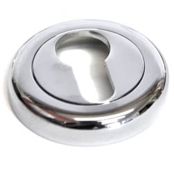 Euro Escutcheon with a Radius Edge Rose - Chrome Finish