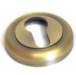 Euro Escutcheon wtih a Radius Edge Rose - Matt Antique Brass Finish