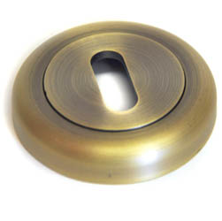 Round Escutcheon with a Radius Edge - Matt Antique Brass Finish