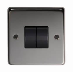 Black Nickel Double Light Switch