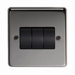 Black Nickel Triple Light Switch