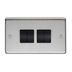 Satin Stainless Steel Quad Light Switch
