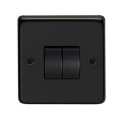 Matt Black Double Light Switch