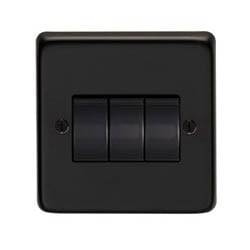 Matt Black Triple Light Switch