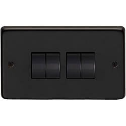 Matt Black Quad Light Switch