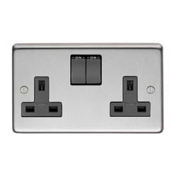 Satin Stainless Steel Double Socket