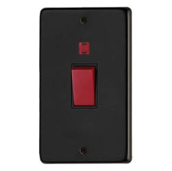 Matt Black Double Plate Cooker Switch