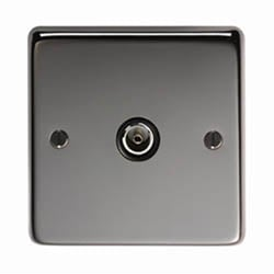 Black Nickel Single TV Socket